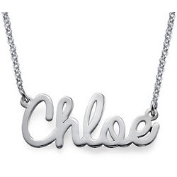 Cursive Name Necklace in Silver