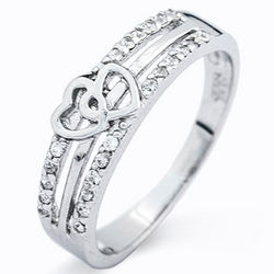 Joined Hearts Cubic Zirconia Promise Ring