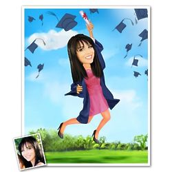 Graduation Caricature Print for Her from Photo