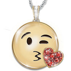 A Message of Love Face Throwing a Kiss Emoji Pendant Necklace