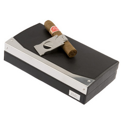Leather and Stainless Steel Trimmed Humidor with Cigar Cutter