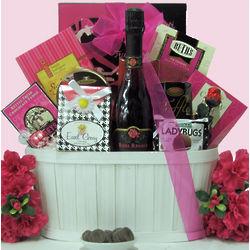 Sweet & Trendy Rosa Regale Gourmet & Wine Gift Basket