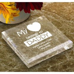 "Personalized"" My Heart Belongs To"" Keepsake and Paperweight"