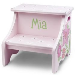 Hand Painted Pink Flower Stool