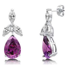 Pear Amethyst Cubic Zirconia Sterling Silver Dangle Earrings