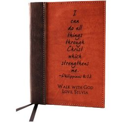 Leather Journal with Embossed Bible Verse