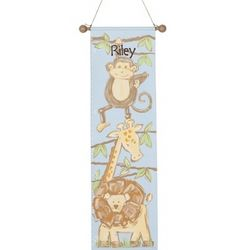 Hand Painted Safari Growth Chart Gift