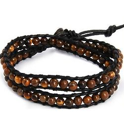 Chen Rai Tigers Eye Black Cord Wrap Bracelet