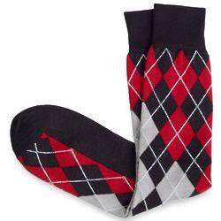 Black and Red Argyle Socks