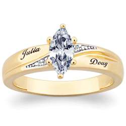 10K Gold Marquise Cubic Zirconia and Diamond Wedding Ring