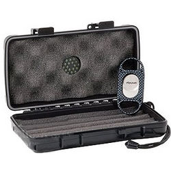 5 Count Travel Cigar Case with X8 Carbon Fiber Cigar Cutter