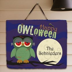 Personalized Happy Owl-oween Welcome Slate Plaque