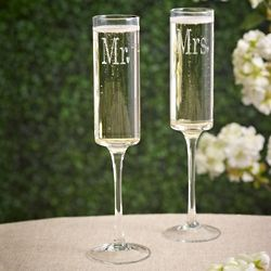 Mr. and Mrs. Contemporary Toasting Flutes
