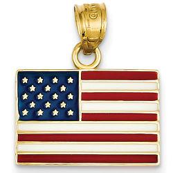 14K Gold Enameled American Flag Pendant