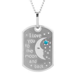 I Love You To The Moon And Back Birthstone CZ Small Dog Tag