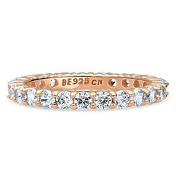 Rose Gold Plated Sterling Silver CZ Eternity Ring