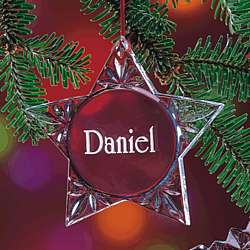 Personalized Lead Crystal Star Christmas Ornament