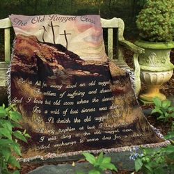 """Old Rugged Cross"" Memorial Tapestry Throw"