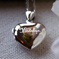 Sterling Silver Engravable Heart Locket Necklace