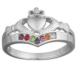 Platinum Plated Sterling Silver Family Birthstone Claddagh Ring