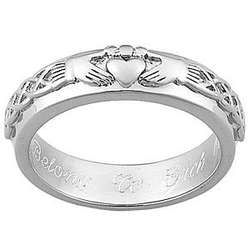Sterling Silver Engraved Claddagh Band