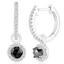 Black & White Diamond Earrings in Silver