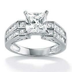 10k White Gold Princess-Cut and Channel-Set Diamond Ring