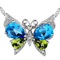 Blue Topaz and Peridot Butterfly Pendant