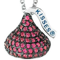 Sterling Silver July Birthstone Hershey's Kiss Necklace