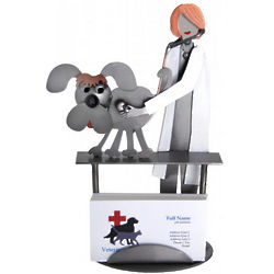 Female Veterinarian with Dog Business Card Holder