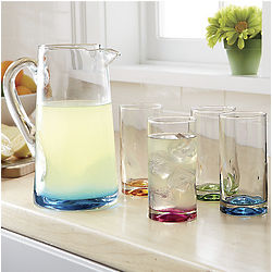 Colorful Glasses and Pitcher Set