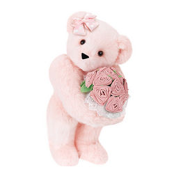 Pink Rose Bouquet and Bow Teddy Bear