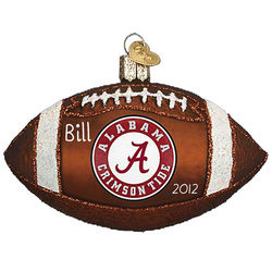 Personalized Alabama Crimson Tide Football Glass Ornament