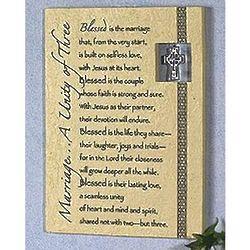 Irish Wedding Plaque with Pewter Cross Charm
