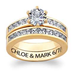 10K Gold Two Piece Engraved Wedding Ring Set