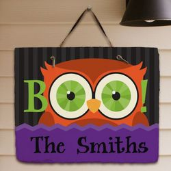 Personalized Halloween Owl Slate Plaque