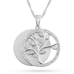 Family Tree Cubic Zirconia Necklace