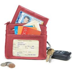 Card and Coin Red Keychain Case