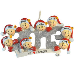 2013 Family Group of 8 Glittered Numbers Ornament