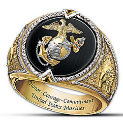 Men's US Marines Honor, Courage and Commitment Ring