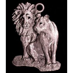 Lion and Lioness Pewter Ornament