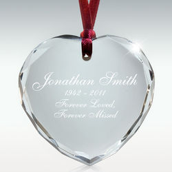 Personalized Crystal Heart Memorial Ornament