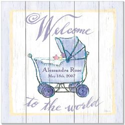 """Welcome to the World 18"""" Carriage Vintage Sign"""
