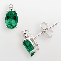 Sterling Silver Lab Created Emerald Earrings with Diamond Accents