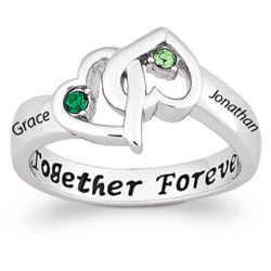 Couple's Entwined Hearts Birthstone Name Ring