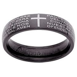 Black Steel Cross Lord's Prayer in Spanish Ring