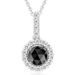 Black & White Round Diamond Pendant in Silver