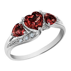 Garnet Heart Ring with Diamond Accents in 10K White Gold