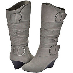 Gray Faux Suede Women's Casual Boots