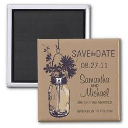 Vintage Mason Jar and Flowers Save the Date Refrigerator Magnet
